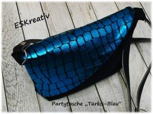 Kleine Umhängetasche / Partytasche / Abendtasche *Türkis-blau*
