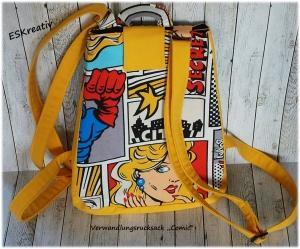 Verwandlungsrucksack mit großem Volumen / Rucksack Comic-Motive