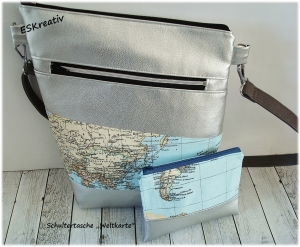Shopper / Schultertasche / Umhängebeutel  / Kunstledertasche silber