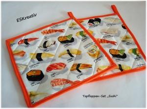 Topflappen-Set mit Sushi-Motiven / 2-teilig / Geschenk für Hobbyköchinnen / Geschenk für Sushi-Fans