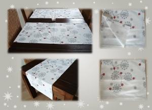 Weihnachtlicher Tischläufer mit silbernen Eisblumen