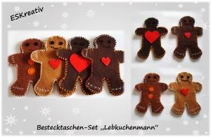 Bestecktaschen-Set / Besteckhalter 4-teilig / Lebkuchenmann