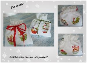Geschenkesack- / Geschenkebeutel-Set *WEIHNACHTLICHE CUPCAKES*