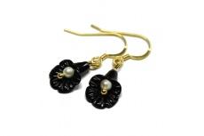 Nachtschwarze Onyxblüten - Ohrhänger
