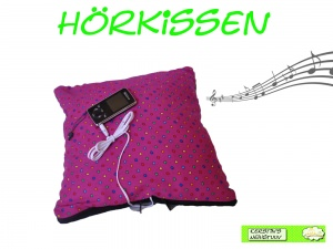 Hörkissen Musikkissen Pink mit bunten Pünktchen