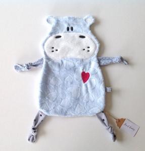 Baby Schmusetuch Spieltuch Schnuffeltuch Kuscheltuch Schnullertuch Nilpferd hellblau Neu