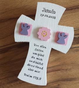 Taufkreuz Taufe Kinder Kreuz Holz Blume Engel 3D NurVonMir ♡ - Handarbeit kaufen