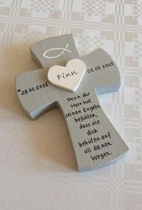 Taufkreuz 3D Herz Kreuz Holzkreuz Taufe Kommunion NurVonMir ♡  - Handarbeit kaufen