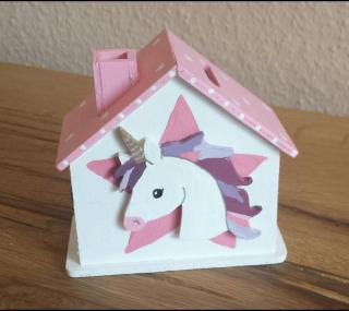Einhorn Spardose Sparhaus Taufe Geburt Geburtstag NurVonMir ♡ - Handarbeit kaufen