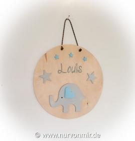Kinderzimmer, Babyzimmer, rundes Türschild, Wandbild Aufhänger mit Lederband, Motiv Elefant, Geschenk zur Taufe