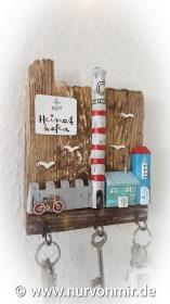 Außergewöhnliches Schlüsselbrett aus Treibholz und Altholz, ein einzigartiges Unikat Deko Leuchtturm Holzhaus Haus Häuser Holzhausdeko Dekohaus handbemalt Schlüsselanhänger Schlüss