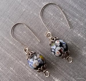 handpainted beads + silver
