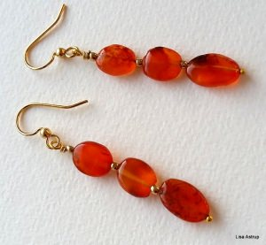 Orange Carnelian long earrings