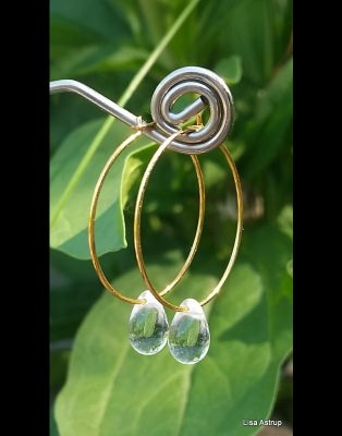 Clear drop hoop earring