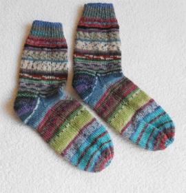 Socken Gr. 40, Restesocken, handgestrickt