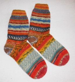 Socken Gr. 38, Restesocken, handgestrickt