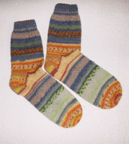 Socken Gr.40, Restesocken, handgestrickt - Handarbeit kaufen