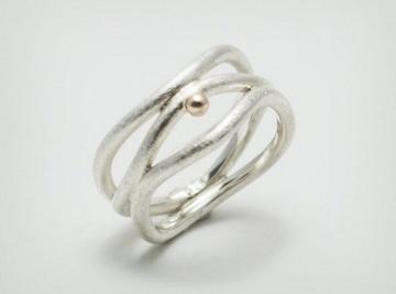 Silber-Ring mit 585er Gold / handgearbeitet - mattiert - handmade - Handarbeit kaufen