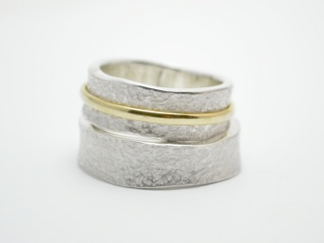 Verlobungsringe -Partnerringe 925erSilber / 585er Gold - Verdreht - - Handarbeit kaufen