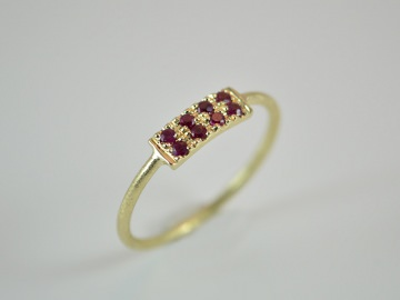 Goldring -Pave- zarter und zeitloser Ring aus 585er Gold mit Rubine