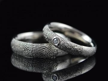 Partnerringe / Trauringe - Fingerabdruck Weißgold- 585 Weißgold/ Diamant - Handarbeit kaufen