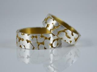 Trauringe - Partnerringe Silber / Gold -Fusion- aus 925er Silber handgearbeitet - Handarbeit kaufen