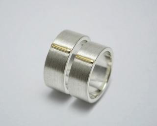Trauringe / Eherringe -Ewig - 925 er Silber 585er Gold / handgemacht - Handarbeit kaufen
