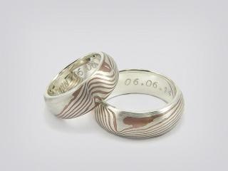 Partnerringe / Trauringe -Mokume Gane- Wunderbare handgearbeitete Ringe in Mokume Gane Technik - Handarbeit kaufen