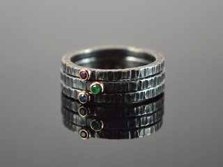 Solitär-Ring -Aged- , 925er Silber /585er Goldfassung Rubin, Saphir oder Smaragd