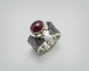 585 Rotgold, 925 Silber , Granat , Ring★Cíclope★ , handgemacht - Handarbeit kaufen