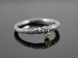 Silber-Ring ★Black Snake-Eye★  925er Silber 585er Gelbgold Citrin - Handarbeit kaufen