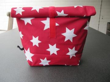 Lunchbag - Rolltasche - Kulturtasche  ,weiße Sterne auf rot