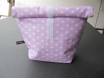 Lunchbag - Rolltasche - Kulturtasche  ,weiße Sternchen auf rosa - Handarbeit kaufen