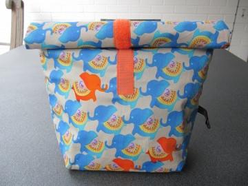 Lunchbag - Rolltasche - Kulturtasche  ,blaue Elefanten - Handarbeit kaufen