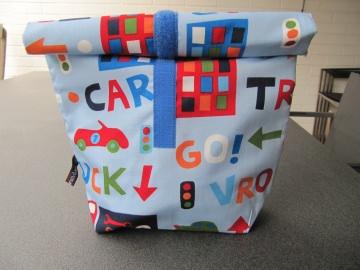 Lunchbag - Rolltasche - Kulturtasche ,bunte Autos und Häuser - Handarbeit kaufen