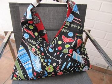 Einkaufstasche,Marketbag,BW bunte Figuren auf schwarz ,gefüttert  - Handarbeit kaufen