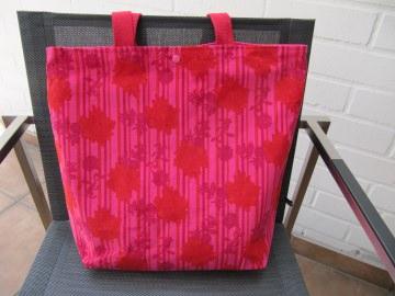 Cordshopper, Schultertasche,rote Blüten auf pink