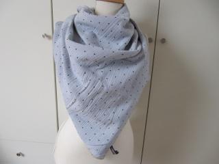 Musselin-Tuch,schwarze Punkte auf hellgrau/bleu - Handarbeit kaufen