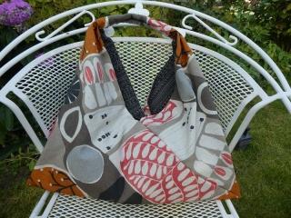 Einkaufstasche,Marketbag,BW -Gemisch,abstrakte Muster in Herbsttönen ,gefüttert mit einem schwarz graue gemusterten Baumwollstoff - Handarbeit kaufen