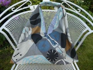 Einkaufstasche,Marketbag,BW -Gemisch,abstrakte Muster in blau, grau und schwarz ,gefüttert mit einem weiß grau kariertenBaumwollstoff ) - Handarbeit kaufen