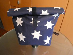Lunchbag - Rolltasche - Kulturtasche,weiße Sterne auf dunkelblau - Handarbeit kaufen