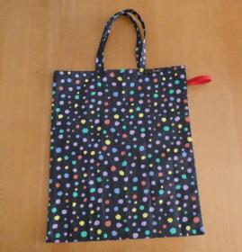 Einkaufsbeutel,zusammenfaltbar,bunte Punkte auf schwarz
