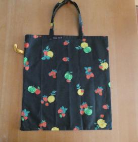 Einkaufsbeutel,zusammenfaltbar,bunte Früchte auf schwarz ,BW,