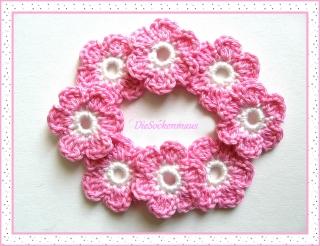 8 wunderschöne Häkelblüten in rosa, aus reiner Baumwolle ♥