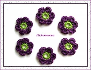 6 wunderschöne Häkelblüten aus Baumwolle ♥
