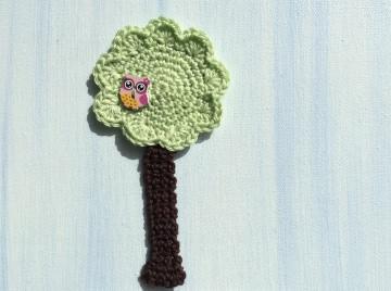 Applikation gehäkelter Baum mit Eule * Neu