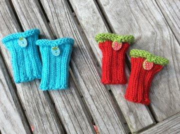 Pulswärmer für Neugeborene * Farbwahl in Rot oder Türkisblau