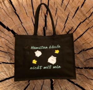 Jute Classic Shopper mit Motiv Hamster käufe nicht mit mir  - Handarbeit kaufen