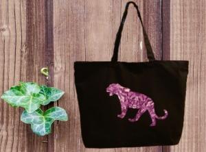 Premium Baumwoll Maxi Tasche schwarz mit Motiv Panther - Handarbeit kaufen
