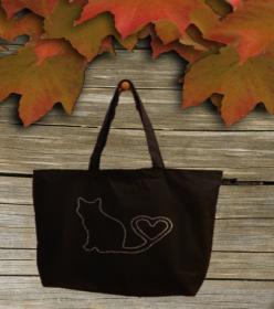 Premium Baumwoll Maxi Tasche schwarz mit Strass Steine Motiv Katze Mit Herz